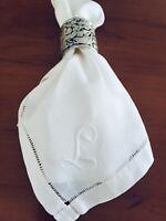 "Vintage Monogram ""L"" White Cotton Linen Napkins Set of 4 Dinner Napkins 15""x15"""