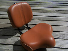BROWN BICYCLE SEAT W/BACK REST BEACH CRUISER TRICYCLE LOWRIDER BMX MTB CHOPPER
