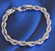18k 18ct White Gold GF Twist Chain woman man bracelet BL-A211