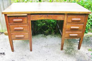 Vintage Double Pedestal Oak Teachers Desk Office Computer Mid Century Project