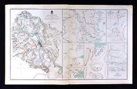 Civil War Map Battle of Fredericksburg Virginia & Dakota Sioux Expedition Mounds