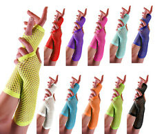 New Long Fishnet Gloves, Fingerless Gloves, Party Gloves, Neon Fishnet Gloves