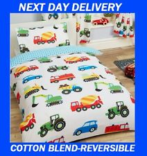 BOYS TRUCK CONSTRUCTION ROADWORKS DIGGERS MIXERS SINGLE DOONA QUILT DUVET COVER