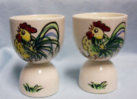 EGG HOLDERS: Pair Vintage Double Egg Cup Ceramic Egg Holders Coddlers w/Roosters