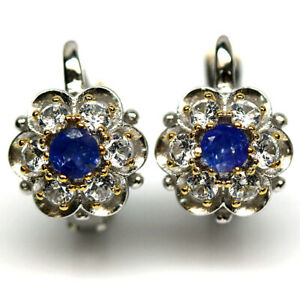 NATURAL 4 mm. BLUE TANZANITE & WHITE CZ EARRINGS 925 STERLING SILVER