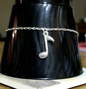 Eighth Note Silver Anklet, Music Note Ankle Bracelet, Summer Jewely Steve Perry