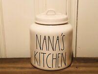 Rae Dunn By Magenta NANA'S KITCHEN Chubby Farmhouse Medium White Canister