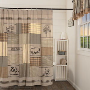 VHC Sawyer Mill Charcoal Stenciled Patchwork Country Farmhouse Shower Curtain