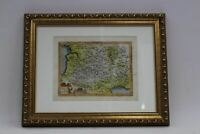 19th Century Antique Latin Full Hand Painted Framed Map Of Southern France