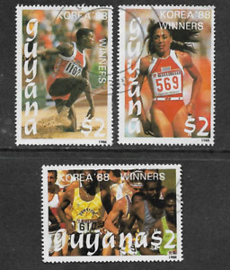 GUYANA POSTAL ISSUE 1989 3 USED $2 COMMEMORATIVE STAMPS - OLYMPICS SEOUL 1988