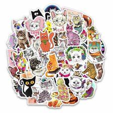 50 Pcs Cat Kitten Stickers For Computer Phone Laptop Skateboard Fridge Bicycle