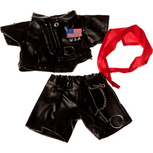 8-10 inch USA Flag Leather Jacket & Trousers - teddy bear stuffed animal clothes