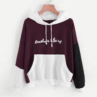 Womens Long Sleeve Hoodie Sweatshirt Hooded Sweater Coat Jumper Pullover Tops