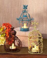 Blue Brown Green Hanging LED Tea Light Holders Metal Caged Shape 3 Votive Holder