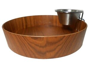 RAINBOW PRDCTS SWEDEN VINT TEAK CHIP/DIP SERVING BOWL, W/STAINLESS STEEL ASMBLY