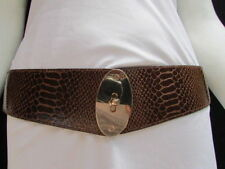 Women Waist Tie Brown Stretchy Casual Belt Gold Oval Buckle XS S M