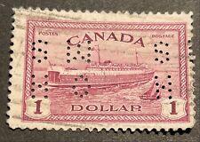 Canada 1946 O.H.M.S. perfin $1 TRAIN FERRY