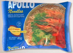 Instant Noodles Chinese Style Bowl Shrimp Flavour  Apollo 24 x Packets 85g