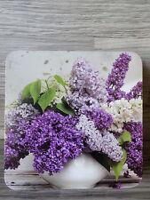 6 Kork Untersetzer--wunderschönes Flieder Motiv--weiß lila--Natur--Neu + OVP