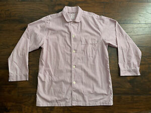 Brooks Brothers Pajama Night Shirt Button Red White Pin Striped Mens Medium M