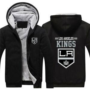 LOS ANGELES KINGS LA Thick Fleece Jacket S-5XL ICE HOCKEY Team Logo Jackets Warm