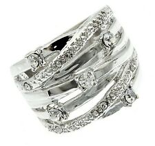"""Womens 3/4"""" Silver Tone Raceway Cubic Zirconia Weave Wide Band Ring Size 6 8"""