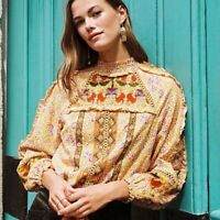 Anthropologie Maeve Goldie Embroidered Cross Stitch Yellow Blouse Size 4 Petite