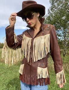 1950s BEADED LEATHER JACKET Fringe 50s Chris Line Deerskin Western Cowboy Vntg