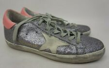 Golden Goose Superstar Silver Glitter Lace-Up Sneakers Women's Shoes Size 35