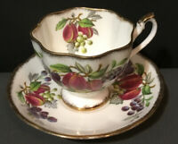 Vintage Queen Anne Footed Tea Cup & Saucer Set~ Fruit Series~England~Pink~Purple