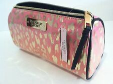 Victoria's Secret Case Cosmetic Bag Pink Orange Leopard Gold, New.