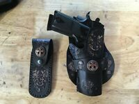 Handmade Leather Angled Gun Holster & 2 mag pouches 1911 Custom Carving