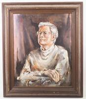 Original Oil on Canvas Painting Man circa 1970's Signed Gloria Peterson Plemmons