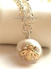 Silver Gold Bumble Bee Necklace Pendant White Pearl Insect Adjustable USA Seller