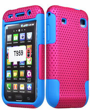 For Samsung Galaxy S1 T959 Vibrant Hybrid Pink Case+ Blue Silicone