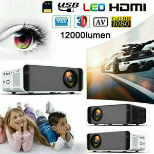 12000 Lumens 1080P HD 3D LED Video Projector AV/VGA/USB/HDMI Home Cinema Theater