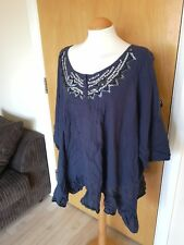 Ladies Top Size Blue White Tunic Smart Casual Day Loose Fit Boho Hippie
