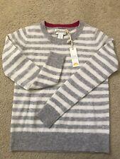 C&C California 100% 2 Ply Cashmere Sweater Grey Stripe XS NEW