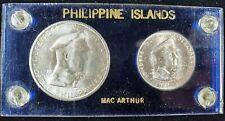 1947-S Philippine Islands Mac Arthur 2 coin set One Peso & Fifty Centavos