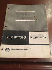 Massey-Ferguson 81 Haytender Operator's Manual