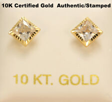 10K Yellow Gold, Diamond Cut 5mm Square Earrings, Men Women Children, 10Kt Gold