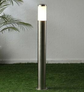 CGC Silver Post Bollard Outdoor Driveway Path Light Stainless Steel Tall 1m UK