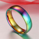 Europe Fashion Rainbow Smooth Stainless Steel Rings Men/Women Couple Band Ring