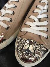 Miu Miu Swarovski Crystal Toe Sneaker Nude Patent Leather Size 37 1/2 New