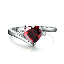 10 Colors Heart-shaped CZ Wedding Promise Ring 10KT White Gold Filled Size 6-11