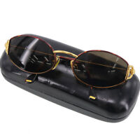 Gucci Logos Sunglasses Gold Brown Eye Wear Vintage Italy Authentic #Z690 W