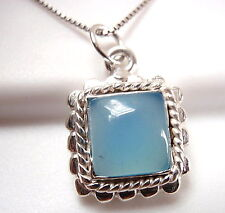 Chalcedony Necklace 925 Sterling Silver Dots and Rope Style Accented Small New