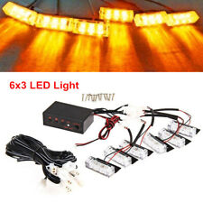6X 3LED Amber Strobe Emergency Flashing Police Grill Light Lamp for Car Truck