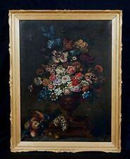 Huge 19th Italian Master Still Life Flowers & Fruit Study Antique Oil Painting