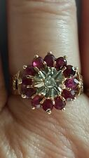 Ruby Diamond Cluster Ring 12 Rubies 1 Centre Diamond 9CT Gold